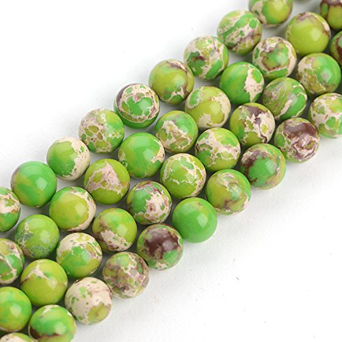 iSTONE Green Imperial Jasper Gemstone Round Loose Beads for Jewelry Making 8mm (Imperial Green Gem)