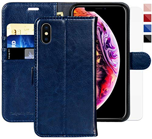 Faux Case Leather Protector (iPhone X Wallet Case/iPhone Xs Wallet Case,5.8-inch,MONASAY [Glass Screen Protector Included] Flip Folio Leather Cell Phone Cover with Credit Card Holder for Apple iPhone X/XS)