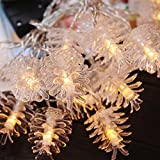 Christmas Festival 20 LED Fairy String Strand Lights, Battery Operated Table Tree Decoration (Pinecone)
