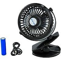 Clip Fan, Mini Desk Fan, Battery Operated Small Personal Fan Strong Wind USB Powered ,360° Rotating Rechargeable Low Noise(black)