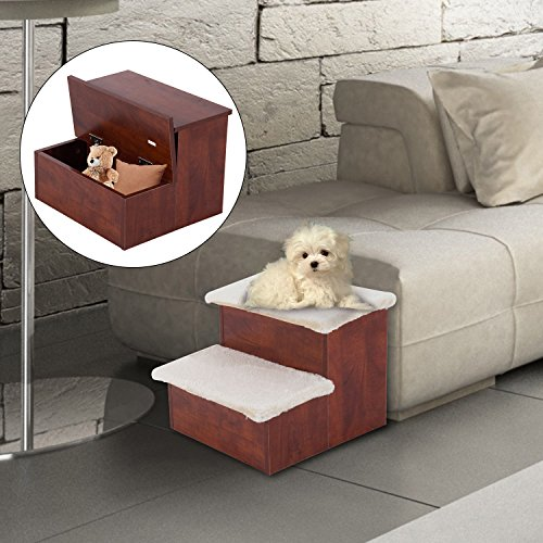 Pawhut Two Step Portable Pet Stairs for Cats and Dogs w/ Storage Compartments by PawHut (Image #2)