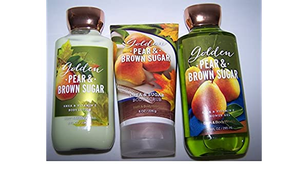 Amazon.com : 3 Piece Bath & Body Works Golden Pear & Brown Sugar Gift Set- Body Scrub, Body Lotion & Shower Gel : Beauty