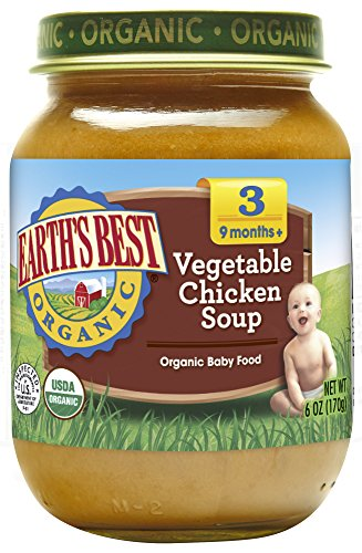 Earth's Best Organic Stage 3 Baby Food, Vegetable & Chicken Soup Dinner, Non GMO Ingredients, 6 Oz Jars (Pack of 12) (Soup Low Chicken Sodium)