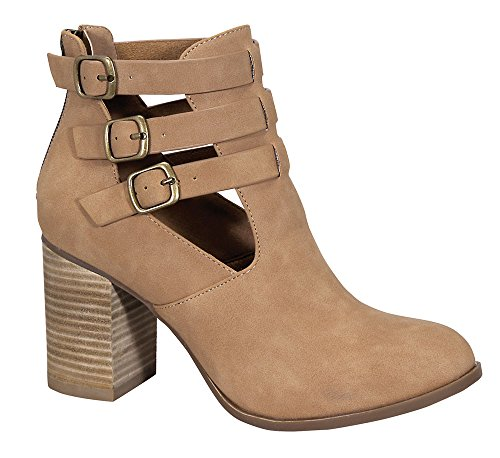 Ethleen-6 Women's Wood Chunky Stacked Middle Heel Suede Ankle Bootie Nude 9