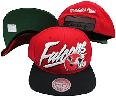 Atlanta Falcons Diagonal Script Red/Black Two Tone Plastic Snapback Adjustable Plastic Snap Back Hat / Cap