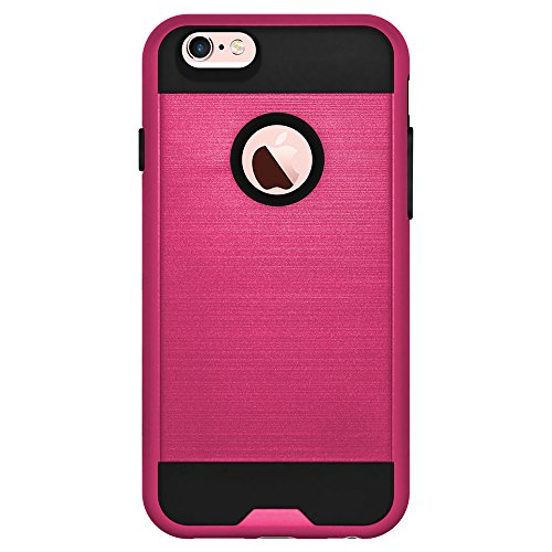 AMZER Hybrid Metto Dual Layer Slim Case Skin for iPhone 6/6s- Retail Packaging - Hot Pink/ Black