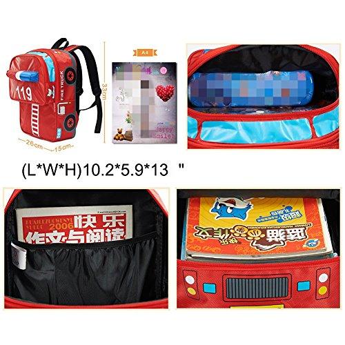 f0b4105d53 Moonwind Cool Kids Backpack Boys Girls Waterproof School Book Bag for  Elementary (Red Fire Truck