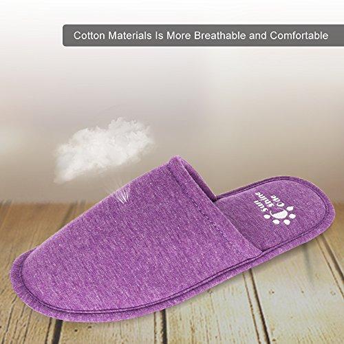 Code De Soleil Femmes Mémoire Mousse Pantoufles Lavables En Coton Avec Sac De Voyage Correspondant Pour La Maison De Lhôtel Spa Chambre Violet