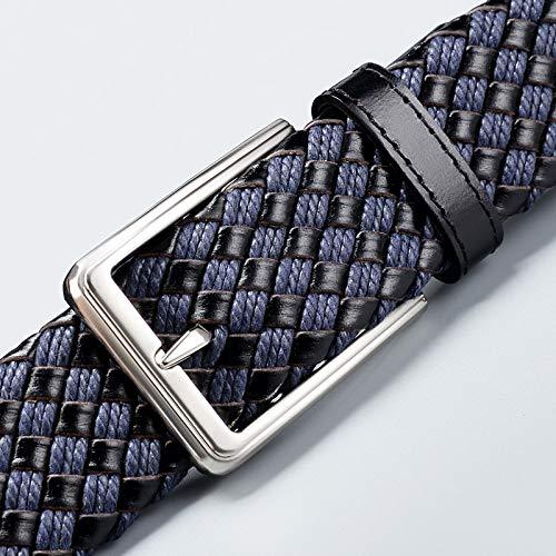 Braided Belts for Men Leather Woven designer belts blue Plaid running belt for women