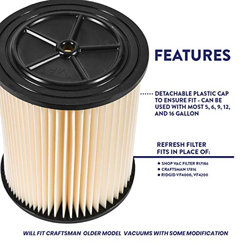 """Wet and Dry Vacuum Filter Replacement Cartridge – Fits Shop-Vac 90328, Ridgid and Craftsman Brand (Red Stripe) Models of 5 Gallons and Up – 6.5"""" Tall and 8"""" Diameter – by Glone"""
