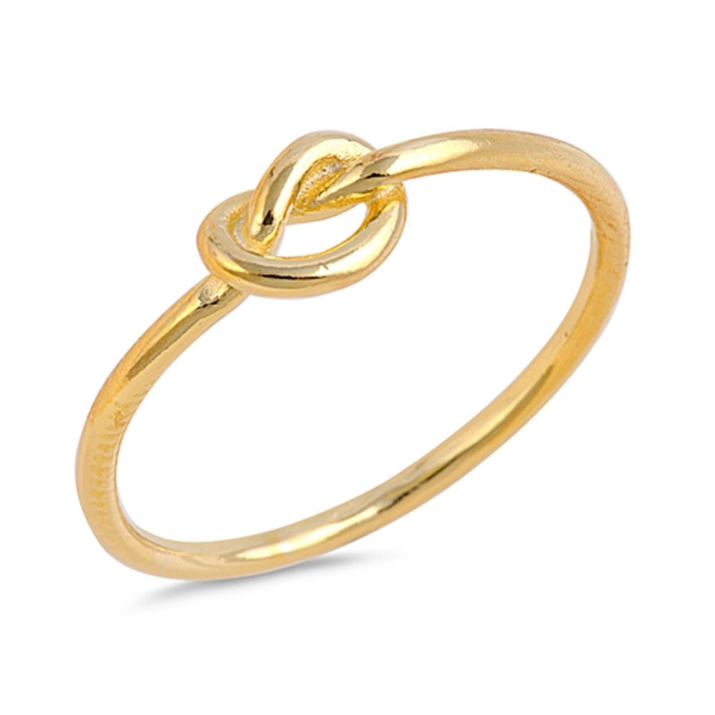 Gold-Tone Infinity Knot Promise Ring .925 Sterling Silver Love Band Size 12