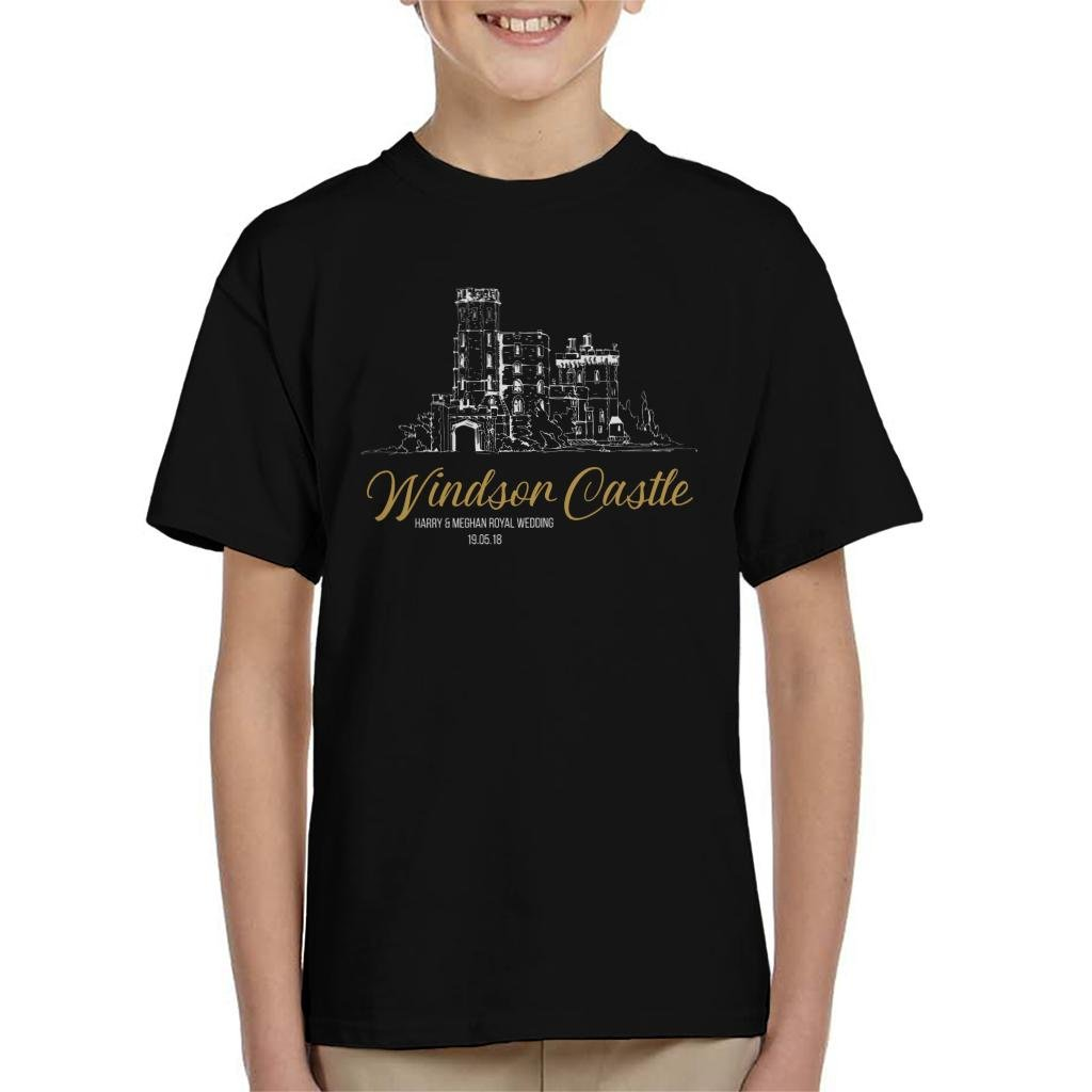 Windsor Castle Harry and Meghan Royal Wedding Kid's T-Shirt by Coto7 (Image #1)