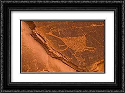 UT, Monument Valley NP Petroglyph Etching 2X Matted 24x18 Black Ornate Framed Art Print by Obrien, Jay