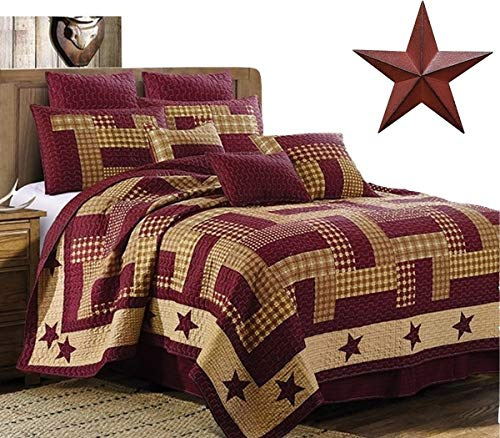 Virah Bella Homestead Red Patchwork Printed 3pc King Size Quilt Set + Metal BARN Star (Country Quilts King Size)