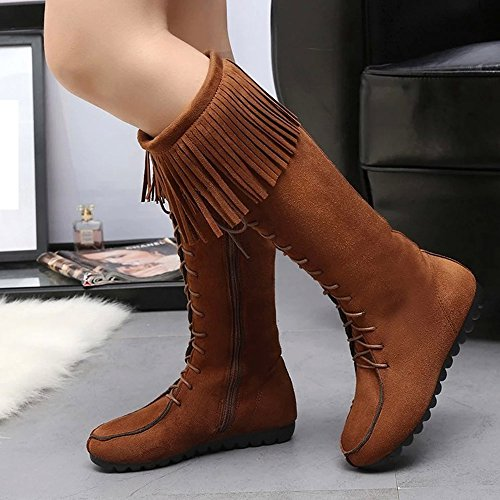 Voberry Women's High Heel Wide Calf Lace Up Stretch Boots Winter Tassel Boots Warm Mid Calf Boots Warm Winter Shoes Brown G5FxOd