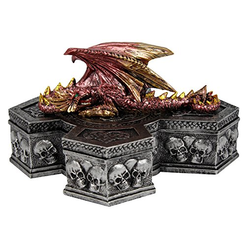 Pacific Giftware Medieval Dragon Jewelry Box Fantasy Mythical Lidded Cross Skull and Bones Treasure Trinket Box 7 Inch L Collectible Fantasy Decor