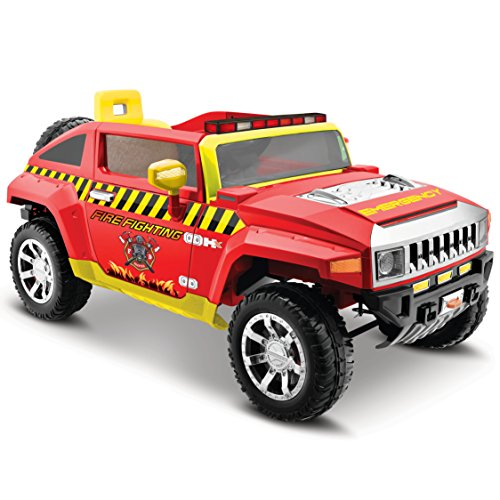 Kid Motorz 12V Fire Engine Hummer HX 12 V Electric One Seater Realistic Emergency Lights, Sirens Working Doors, ()