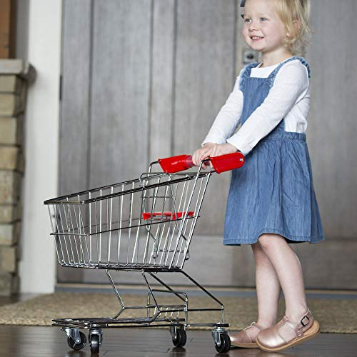 Fat Brain Toys Let's Shop! Stainless Steel Grocery Cart Imaginative Play for Ages 3 to 7 by Fat Brain Toys