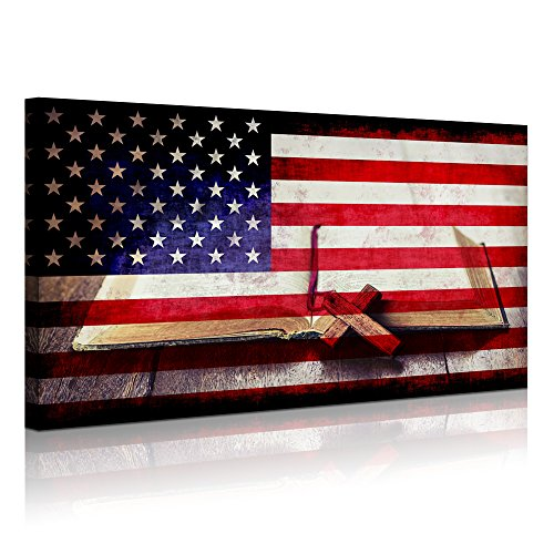 Visual Art Decor Retro USA Flag Christian Religion Wooden Cross on Old Bible Book Canvas Prints Picture Home and Office Wall Decoration Ready to Hang(08 Cross Bible)