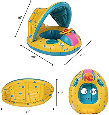 Producto satisfactorio Flotador inflable del agua de la natación del bebé, yate del barco del asiento del bebé con el toldo ajustable de la sombrilla ...