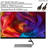 """2020 Lenovo 27"""" QHD WLED IPS Monitor, 2560x1440 Resolution, Dual Speakers, 16:9 Aspect Ratio, 75Hz Refresh Rate, 300 cd/m² Brightness, 16.7M Colors, DisplayPort & HDMI Inputs, BROAGE HDMI Cable 6ft"""
