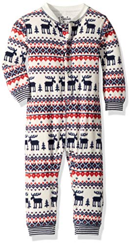 PJ Salvage Kids Baby Kids Thermal Moose fair isle Romper, red, 6/12 mo