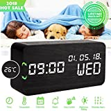Luckymore Alarm Clock,Wood Alarm Clock Digital Clock LED Small Desk Clock Voice Command Beside Wooden Clock Modern Decoration Mini Alarm Clocks 3 Alarms 3 Level Brightness Show Time Date Week (Black)