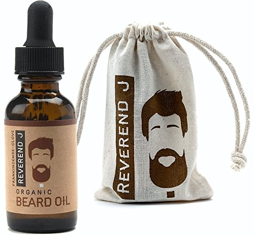 Best Beard Oil, 100% Natural Organic Reverend J Frankincense & Clove Scented, Softens Strengthens Beard, Relieves Itching for Healthy Growth. Pure Essential Oils. Good for all Beard Styles & Goatees.