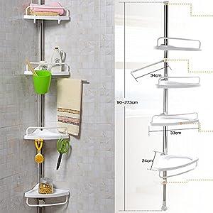 Tier Adjustable Shelf Bathroom Organiser Corner Shower Shelf
