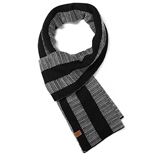 Winter Wool Long Scarf for Men Shawl Wraps Blanket Thick Warm Soft Classic Premium Black/Gray ()
