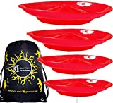 4x Spinning Plate Set (Red) CLASSIC Circus Spinning Plates + 2-Piece Plastic Sticks + Flames N Games Travel Bag! Great fun for Kids & Adults.