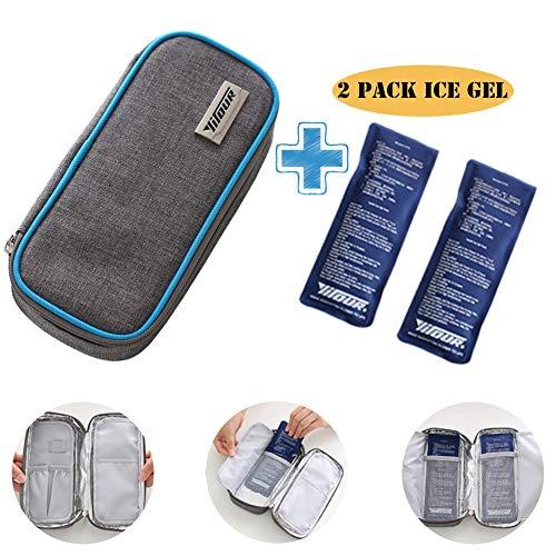 Insulin Case Diabetic Cooler Bag - Portable Insulated Medicine Insulin Bottle Storage Pen Travel Case Diabetes Carrying Organizer Cooler Bag for Men Women Kids with 2 Ice Gel Pack(Blue Sideline) ()