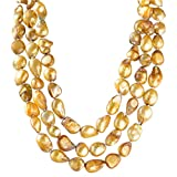 9-10mm Baroque Cultured Freshwater Pearl Necklace Strand Endless Palette Pure GOLD 60''