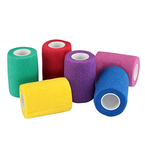 Colored Adhesive Self (WildCow 3 Inch Vet Tape Wrap Bulk Bandages Colored (Pack of 6) …)