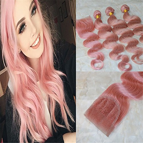 (HairDancing 8A Grade Beazilian Hair Weave Baby Pink Color Body Wave Human Hair Bundles With 4x4 Lace Closures Rose Gold Real Hair Extensions(16