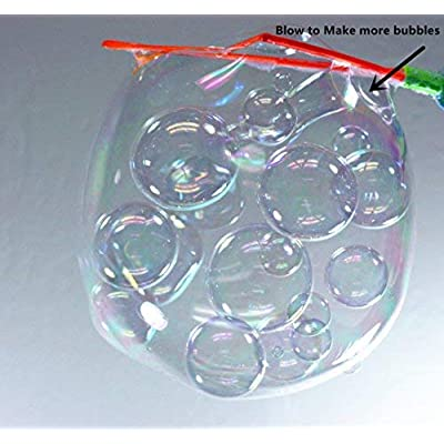 JOYIN 2 Pack Big Bubble Wand Making HUGE Bubbles with Giant Bubble Solution for Summer Toy Party Favor, Outdoor Activity Game, Birthday Gift, Easter Basket Stuffers: Toys & Games