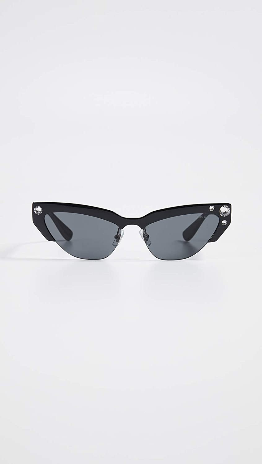 Amazon.com: Miu Miu Womens Narrow Cat Eye Sunglasses, Black ...