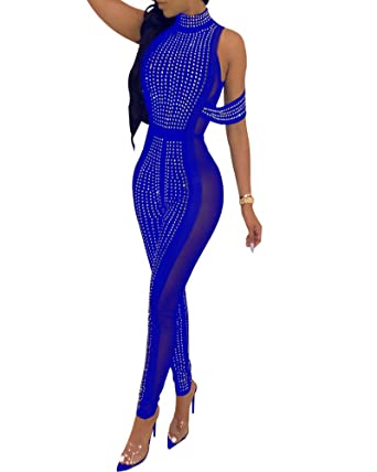 f3c2a758ebb Amazon.com  IyMoo Sexy Jumpsuits for Women Clubwear - Sequins Jumpsuit See  Through Mesh Bodycon Club Rompers  Clothing