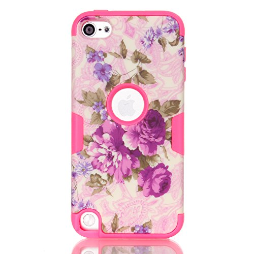 iPod 6 Shock Case,iTouch 5 Case, XRPow Flower Series 3 Layers Hybrid Duty High Impact Armor Hybrid Shock-Absorption Anti-slip Hard Case with Soft Shell Cover for iPod Touch 5 6th Generation (Ipod Cover For 5th Generation)