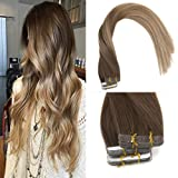 "Sunny 20"" Tape in Extension Real Remy Human Hair Dark Brown Mixed Gold Brown and Dark Ash Blonde Balayage Tape in Human Hair Extensions 20pcs/50g per pack"