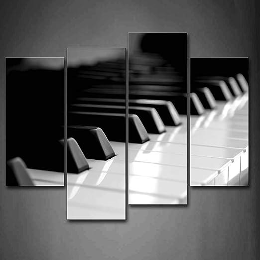 BIHUAHE Teclado de Piano en Blanco y Negro Arte de la Pared Pintura La Imagen Impresa en Lienzo Imágenes de Arte para la decoración del hogar Decoración Regalo: Amazon.es: Hogar
