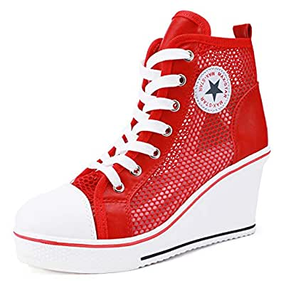 Catata Women's High Top Canvas Shoes High Heel Wedge Lace up Side Zipper Sneaker Size: 5.5
