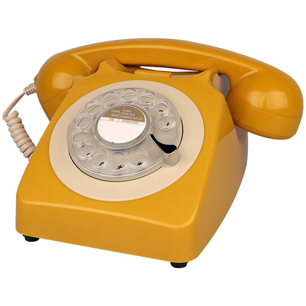 レトロなデザイン有線固定電話 - 古典的なレトロビンテージロータリーダイヤルスタイルデスクテーブルホームオフィスコイル電話 (色 : Dark red) B07JC527XW Golden Brown