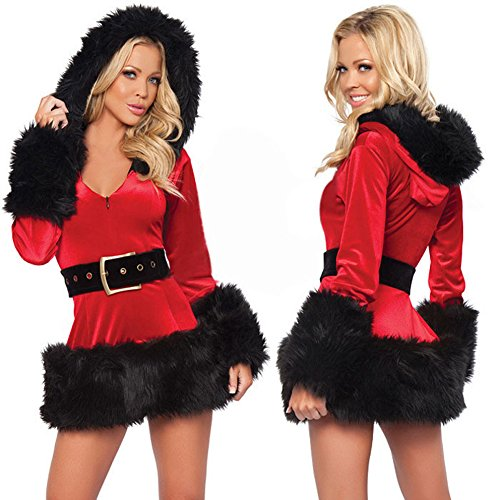 WELVT Girl's Sexy Holiday Santa's Sweetie Fancy Christmas Costume Dress Hooded Set Black (Plus Size Sexy Santa Christmas Costume)