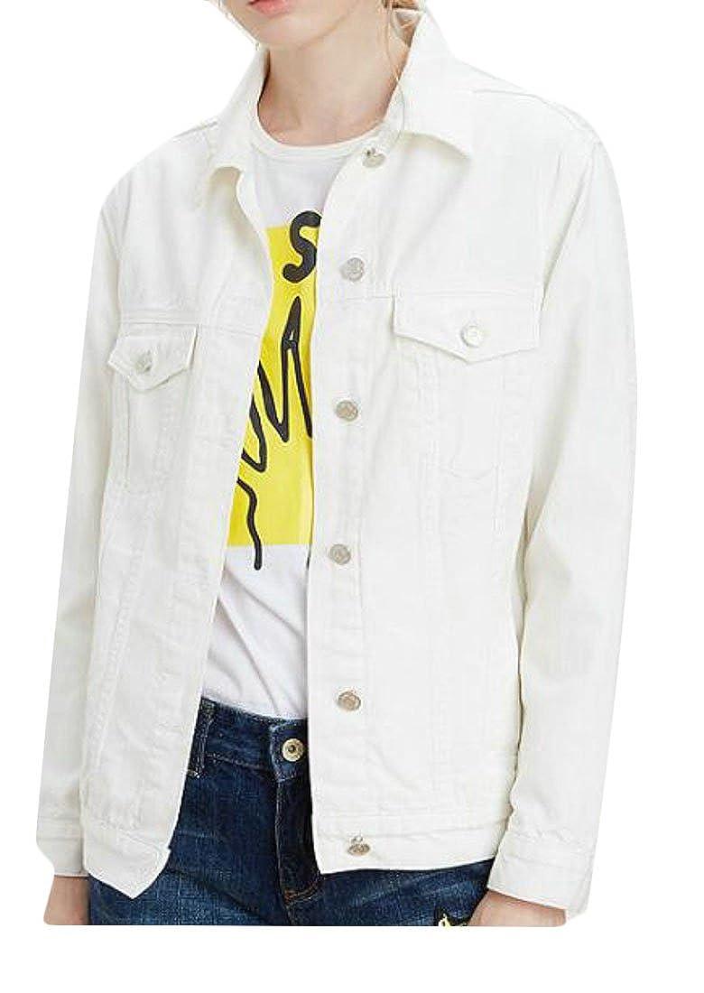 YUELANDE-Women Boyfriend Denim Jacket Long Sleeve Jean Coats