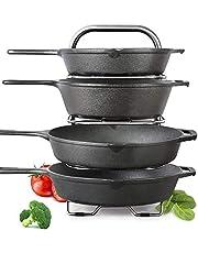 BTH Heavy-Duty Height Adjustable Pot Pan Stainless Steel Organizer Rack 5-Tier: 10, 11 & 12 Inch Kitchenware Cookware Pot Rack Cabinet Countertop Storage Solution