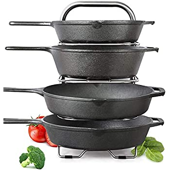 Height Adjustable Heavy-Duty Cast Iron Pan and Pot Organizer Rack: Stainless Steel, 5-Tier Durable Steel Rack for Kitchen Countertop & Cabinet Storage and Organization (16.5