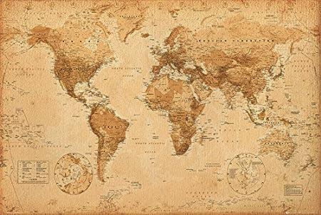 carte du monde antique GB eye GN0430 World Map, Antique Style, Maxi Poster: Amazon.ca