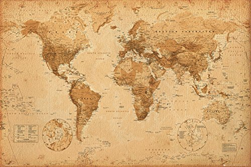 Higoo world map canvas wall art new antique vintage classic style gb eye limited gn0430 world map antique style maxi poster multi colour gumiabroncs Gallery