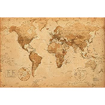 Amazon world map vintage style poster print posters prints world map antique art 24x36 poster gumiabroncs Choice Image